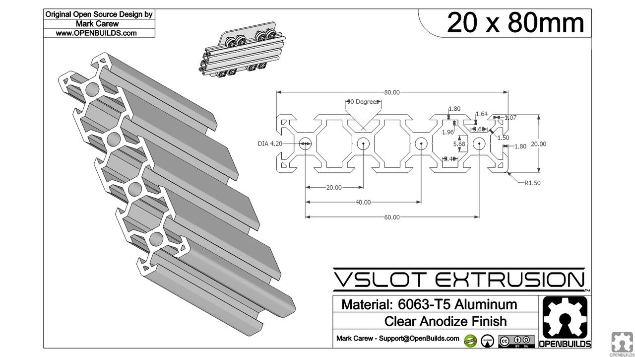 V Slot 20 X 80mm Linear Rail