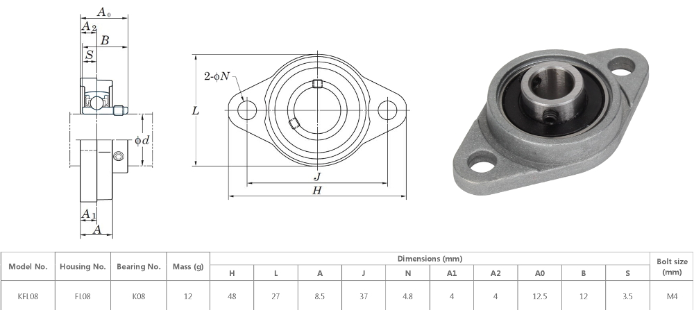 Kfl08 Pillow Block Flange Bearing Maker Store Usa