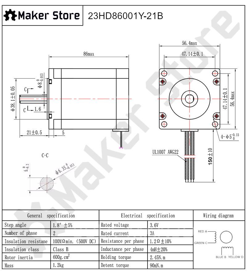 Nema 23 Stepper Motor 2 45n M - High Torque